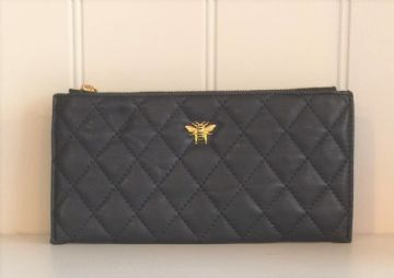 Alice Wheeler Bumblebee Quilted Corn Purse - Navy